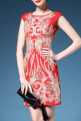 New Cap Sleeve Embroidered Pencil Dress