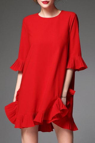 Discount Solid Color Bell Sleeve Dress