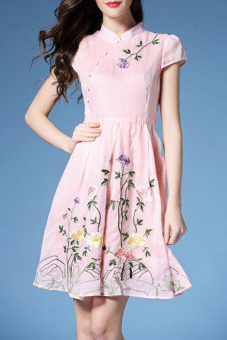 Sale Floral Embroidered Plteated A Line Dress
