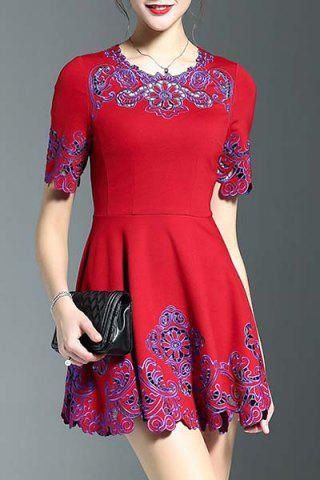 New Stylish Round Neck Half Sleeve Fitting Embroidery Women's Dress