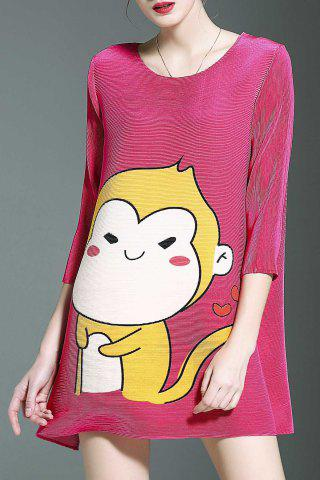 Outfits Stylish Round Neck 3/4 Sleeve Loose Cartoon Print Women's Dress