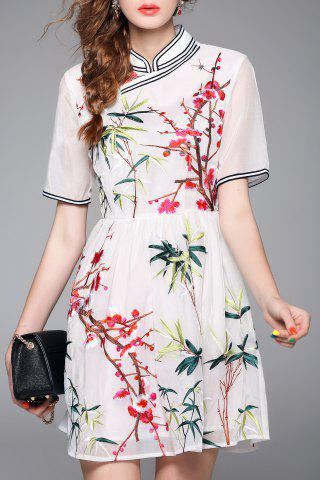 Store Embroidered Mandarin Dress