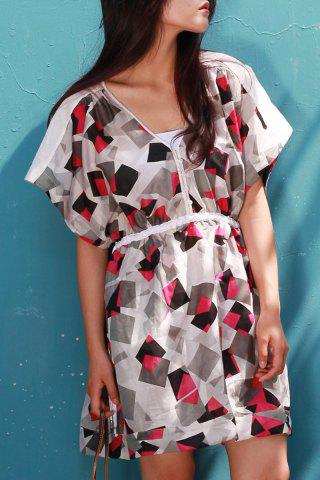 Outfit Geometrical Print Mini Dress with Tank Top