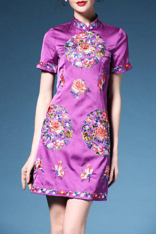 Hot Retro Short Sleeve Cheongsam Dress