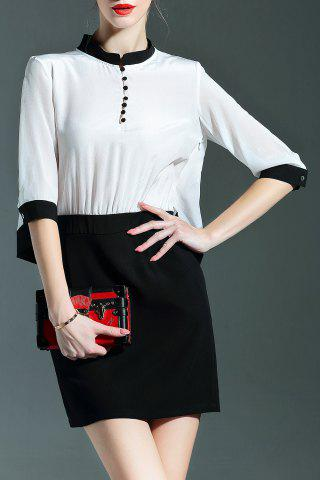 Shops Stand Collar Color Block Buttoned Dress