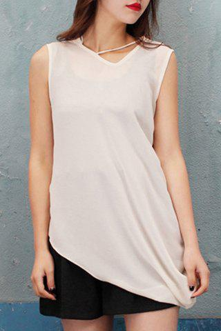 Best V Neck Asymmetrical Chiffon Tank Top