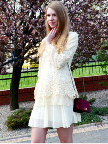 Buy Long Sleeve Lace Embellished Solid Color Skirt Hem Women's T-shirt - 2XL OFF-WHITE Mobile