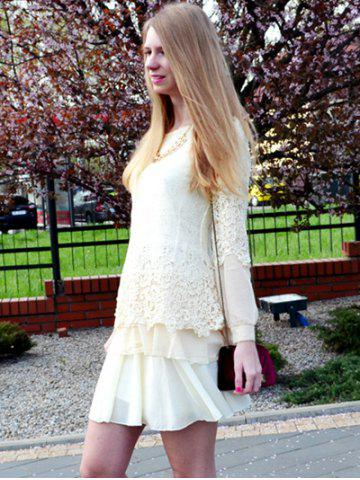 Chic Long Sleeve Lace Embellished Solid Color Skirt Hem Women's T-shirt - M OFF-WHITE Mobile