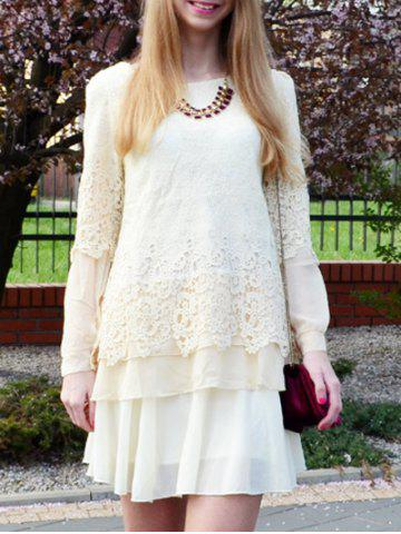 Fancy Long Sleeve Lace Embellished Solid Color Skirt Hem Women's T-shirt OFF WHITE M