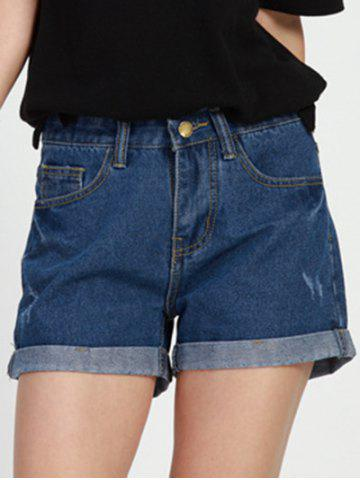 Trendy Simple Design Mid Waist Solid Color Denim Shorts For Women