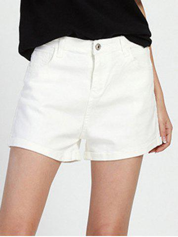 Buy Chic Mid Waist White Women's Denim Shorts