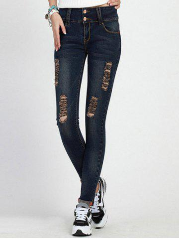 Cheap High Rise Skinny Ripped Jeans DEEP BLUE L