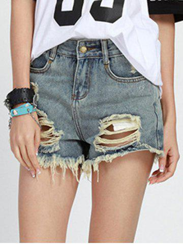 New Chic Mid Waist Button Design Denim Ripped Shorts Womens