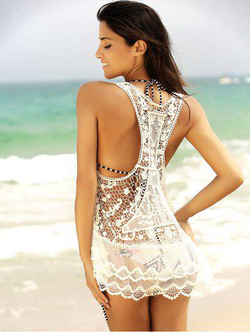 Chic See-Through Lace Short Swimsuits Cover Ups - XL WHITE Mobile