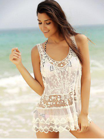 New See-Through Lace Short Swimsuits Cover Ups - M WHITE Mobile