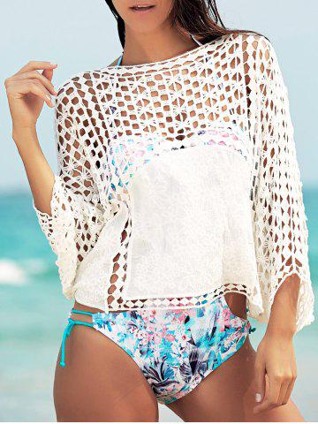 Trendy Dolman Sleeve Openwork Cover Ups Bathing Suit - ONE SIZE(FIT SIZE XS TO M) WHITE Mobile