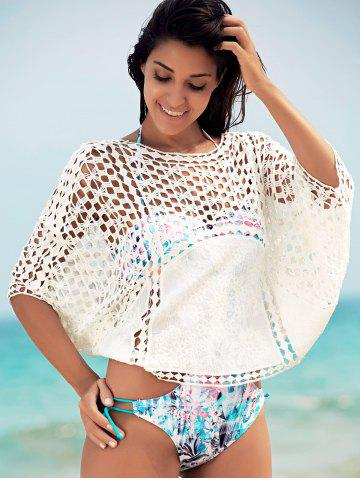 Shop Dolman Sleeve Openwork Cover Ups Bathing Suit - ONE SIZE(FIT SIZE XS TO M) WHITE Mobile