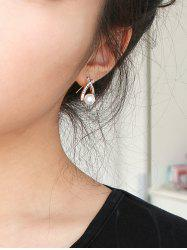 Pair of Faux Pearl Rhinestoned Earrings - ROSE GOLD