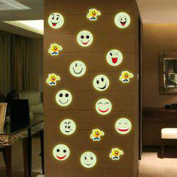 Fashion Luminous Cartoon Smiling Face Pattern Wall Sticker For Bedroom Decoration -