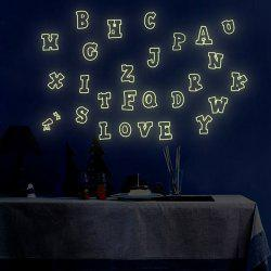 Fashion Luminous Colorful English Letters Pattern Wall Sticker For Bedroom Decoration