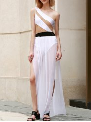 Novelty One Shoulder Hollow Out High-Slit Dress For Women