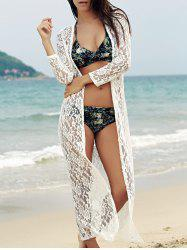 Lace Cover-Up Long Sleeve Maxi Long Beach Kimono Robe - WHITE