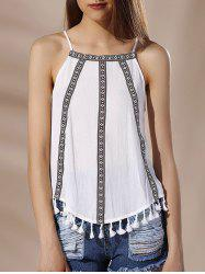 Chic Spaghetti Strap Tribal Print Fringed Women's Tank Top -