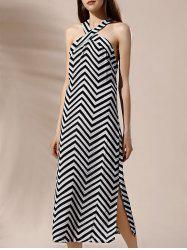 Halter Backless Side Slit Chevron Print Shift Dress