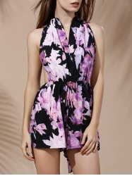 Fashionable Plunging Neck Sleeveless Floral Print Backless Romper For Women -