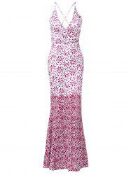 Tribal Print Cut Out Prom Maxi Dress