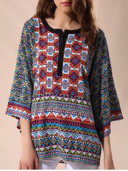 Casual Round Neck 3/4 Sleeve Tribal Print Women's Blouse