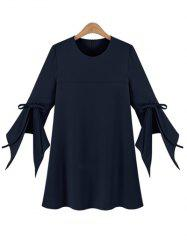 Chic Women's Plus Size Bell Sleeve Pure Color Dress - CADETBLUE XL