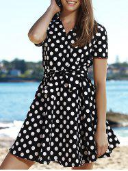 Retro V-Neck Polka Dot Print Short Sleeve Ball Dress For Women