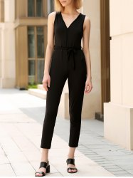 Trendy V-Neck Sleeveless Solid Color Backless Women's Jumpsuit -