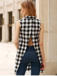 Plaid Side Slit Long Sleeveless Shirt