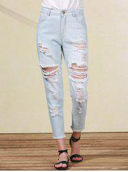 Bleach Wash Frayed Distressed Boyfriend Jeans For Women