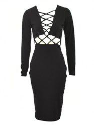 Long Sleeve Hollow Out Bodycon Dress with Long Sleeve