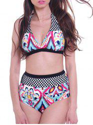 Fashionable High-Waisted Ethnic Print Spliced Women's Bikini Set