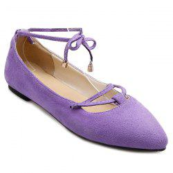Graceful Lace-Up and Pointed Toe Design Flat Shoes For Women - LIGHT PURPLE