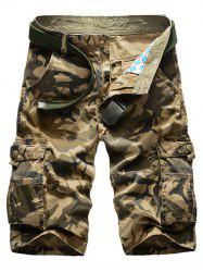 Zipper Fly Camouflage Print Multi-Pockets Straight Leg Cargo Shorts For Men