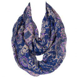 Chic Flower and Paisley Pattern Deep Blue Voile Bib Scarf For Women -