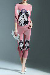 Ruched Puppy Print Blouse and Pencil Pants Twinset -