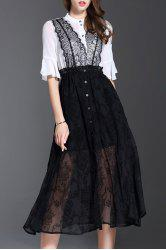 Lace Panel Flounce Sheer Midi Swing Dress - BLACK