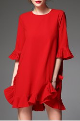 Solid Color Bell Sleeve Dress -