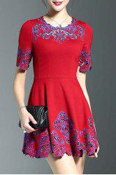 Stylish Round Neck Half Sleeve Fitting Embroidery Women's Dress -
