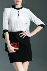 Stand Collar Color Block Buttoned Dress -
