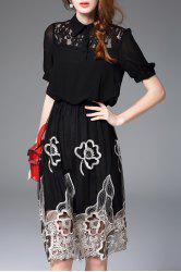 Hollow Out Embroidered Dress -