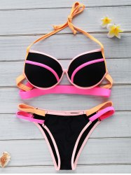 Halter Color Block Underwire Bikini Set For Women