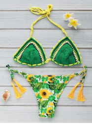 Stylish Sun Flower Print Crocheted Women's Bikini Set