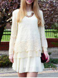 Long Sleeve Lace Embellished Solid Color Skirt Hem Women's T-shirt - OFF-WHITE M